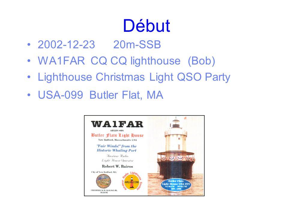 Début 2002-12-2320m-SSB WA1FAR CQ CQ lighthouse (Bob) Lighthouse Christmas Light QSO Party USA-099 Butler Flat, MA