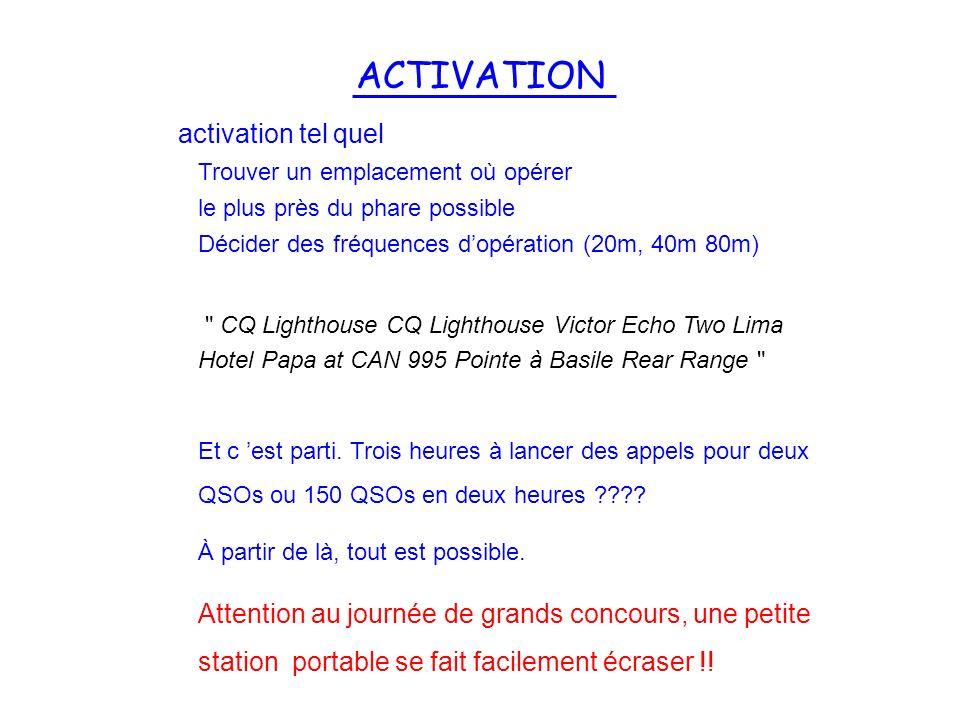 ACTIVATION activation tel quel Trouver un emplacement où opérer le plus près du phare possible Décider des fréquences dopération (20m, 40m 80m)