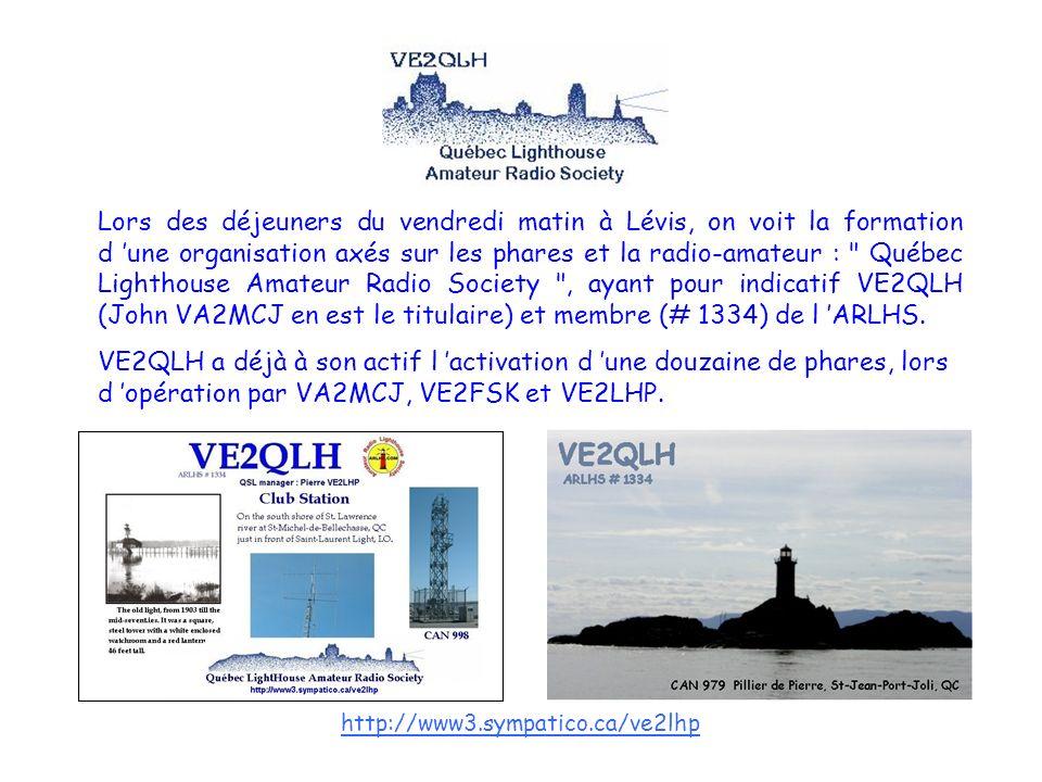 http://www3.sympatico.ca/ve2lhp Lors des déjeuners du vendredi matin à Lévis, on voit la formation d une organisation axés sur les phares et la radio-