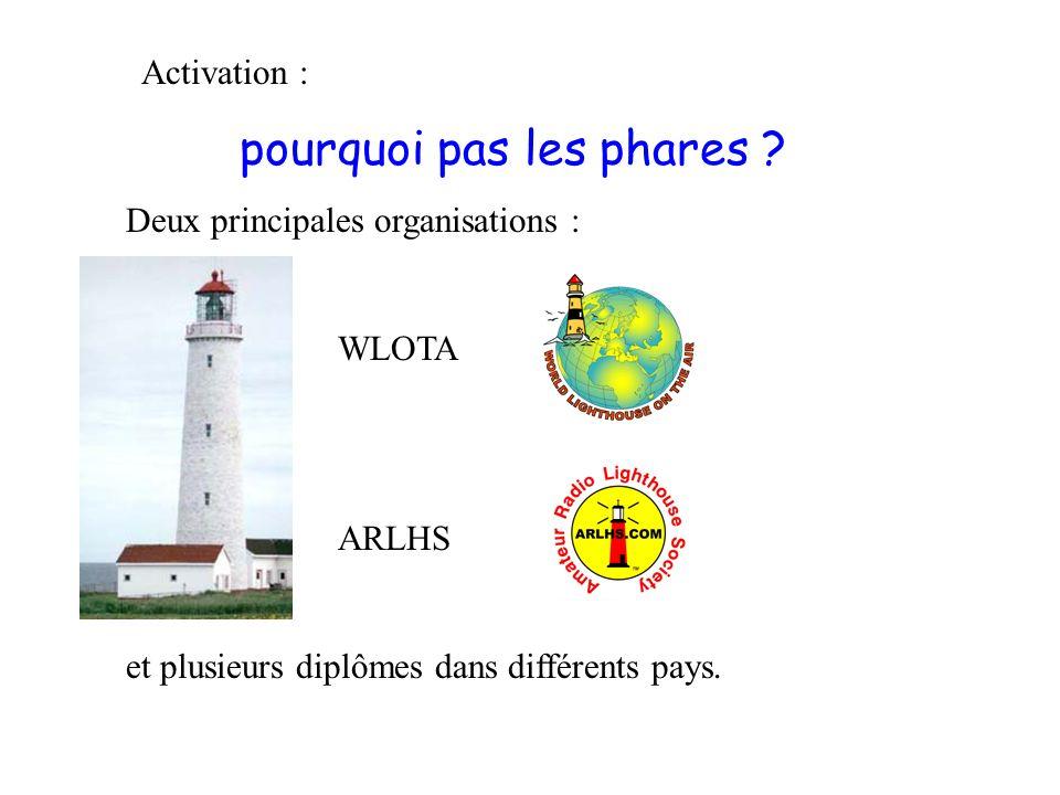 Activation : pourquoi pas les phares ? Deux principales organisations : WLOTA ARLHS et plusieurs diplômes dans différents pays.