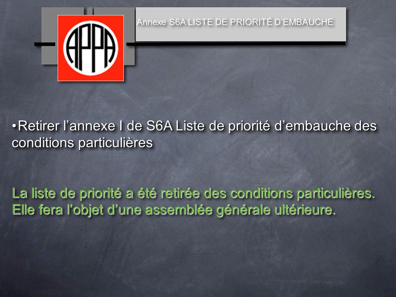 Retirer lannexe I de S6A Liste de priorité dembauche des conditions particulièresRetirer lannexe I de S6A Liste de priorité dembauche des conditions particulières La liste de priorité a été retirée des conditions particulières.