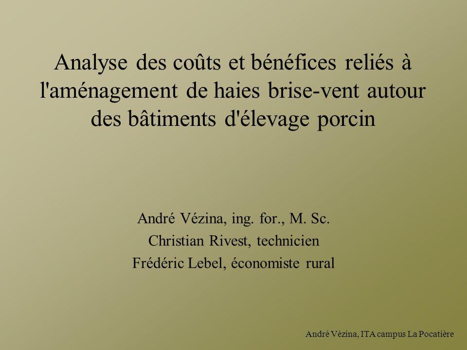André Vézina, ITA campus La Pocatière Analyse des coûts et bénéfices reliés à l'aménagement de haies brise-vent autour des bâtiments d'élevage porcin