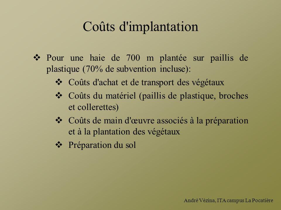 André Vézina, ITA campus La Pocatière Coûts d'implantation Pour une haie de 700 m plantée sur paillis de plastique (70% de subvention incluse): Coûts