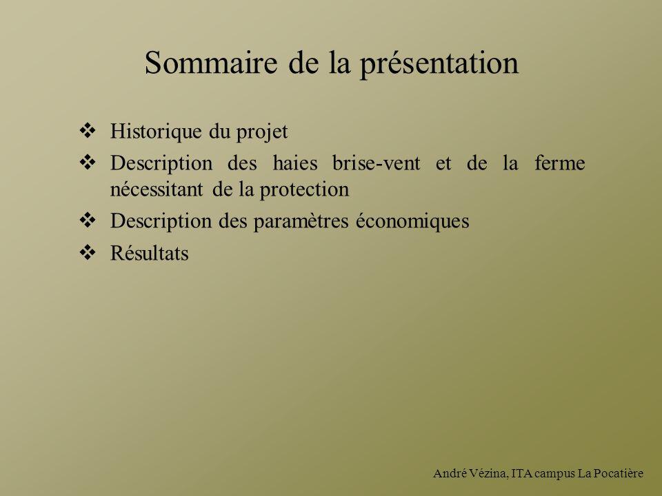 André Vézina, ITA campus La Pocatière Sommaire de la présentation Historique du projet Description des haies brise-vent et de la ferme nécessitant de
