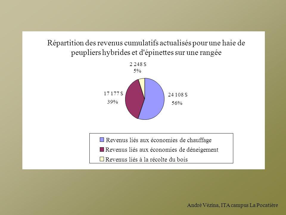 André Vézina, ITA campus La Pocatière 2 248 $ 5% 17 177 $ 39% 24 108 $ 56% Revenus liés aux économies de déneigement Revenus liés à la récolte du bois