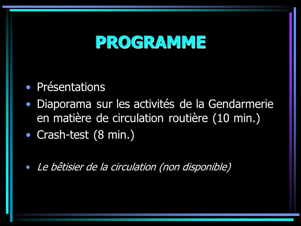 PROGRAMME Présentations Diaporama sur les activités de la Gendarmerie en matière de circulation routière (10 min.) Crash-test (8 min.) Le bêtisier de