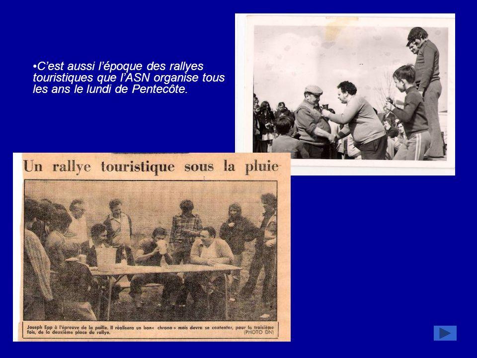 Renouveau 1978 : Joseph Epp accède à la présidence et succède à Jean-Pierre Trotzier Mais il faudra attendre la saison 1979/1980 pour que lASN se distingue à nouveau : titre de champion de groupe en D 4 avec en prime la meilleure attaque du Bas-Rhin (80 buts), challenge sponsorisé par le Crédit Agricole.