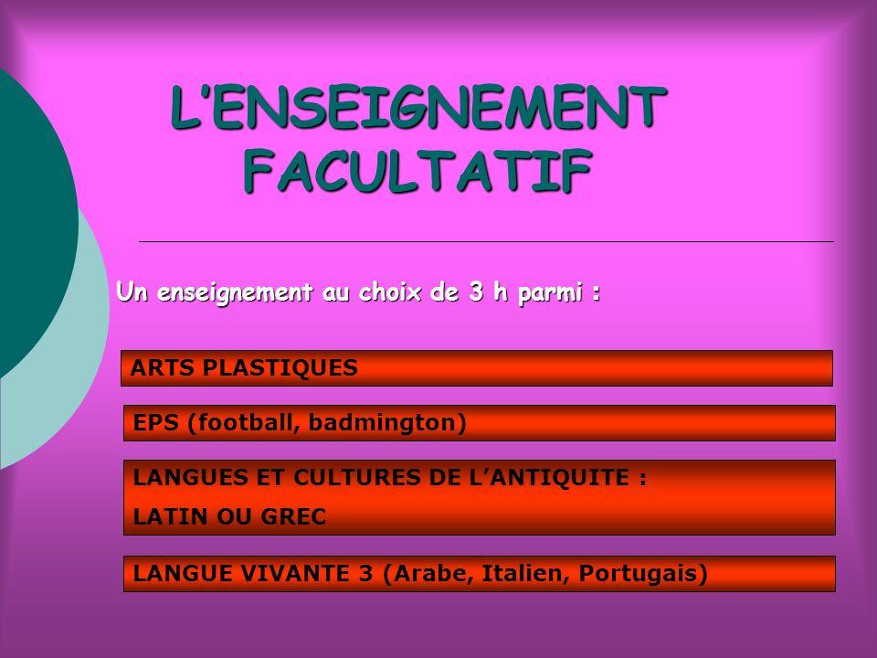 LENSEIGNEMENT FACULTATIF Un enseignement au choix de 3 h parmi : ARTS PLASTIQUES EPS (football, badmington) LANGUES ET CULTURES DE LANTIQUITE : LATIN OU GREC LANGUE VIVANTE 3 (Arabe, Italien, Portugais)
