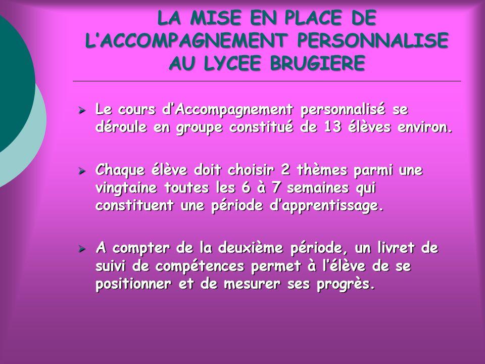 LA MISE EN PLACE DE LACCOMPAGNEMENT PERSONNALISE AU LYCEE BRUGIERE Le cours dAccompagnement personnalisé se déroule en groupe constitué de 13 élèves environ.
