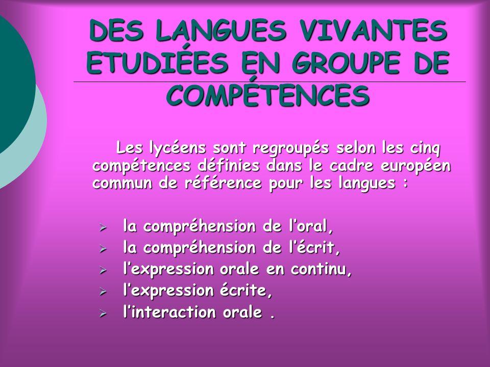 DES LANGUES VIVANTES ETUDIÉES EN GROUPE DE COMPÉTENCES Les lycéens sont regroupés selon les cinq compétences définies dans le cadre européen commun de référence pour les langues : Les lycéens sont regroupés selon les cinq compétences définies dans le cadre européen commun de référence pour les langues : la compréhension de loral, la compréhension de loral, la compréhension de lécrit, la compréhension de lécrit, lexpression orale en continu, lexpression orale en continu, lexpression écrite, lexpression écrite, linteraction orale.
