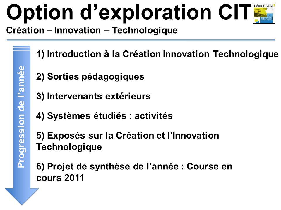 Progression de lannée 1) Introduction à la Création Innovation Technologique 2) Sorties pédagogiques 3) Intervenants extérieurs 4) Systèmes étudiés :