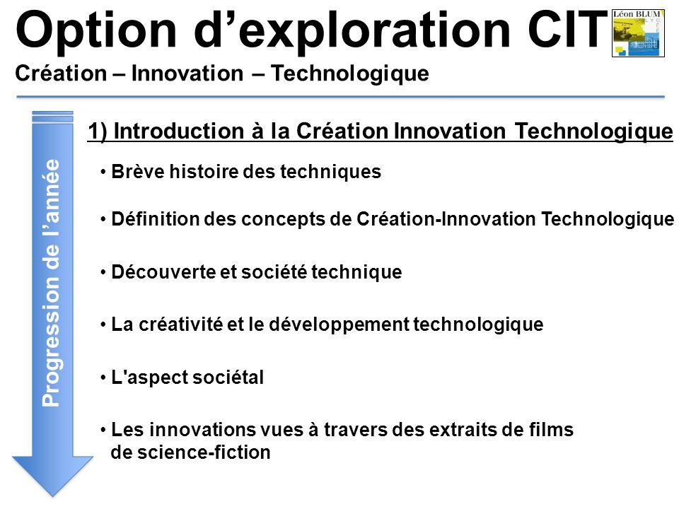 Option dexploration CIT Création – Innovation – Technologique Progression de lannée 1) Introduction à la Création Innovation Technologique Brève histo