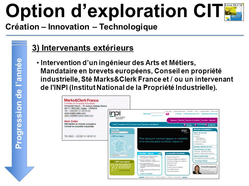 Option dexploration CIT Création – Innovation – Technologique Progression de lannée 3) Intervenants extérieurs Intervention dun ingénieur des Arts et