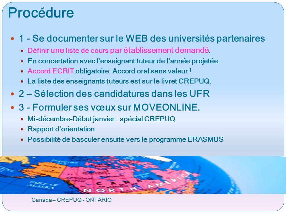 Proc é dure Canada – CREPUQ - ONTARIO 1 - Se documenter sur le WEB des universités partenaires Définir une liste de cours par établissement demandé.