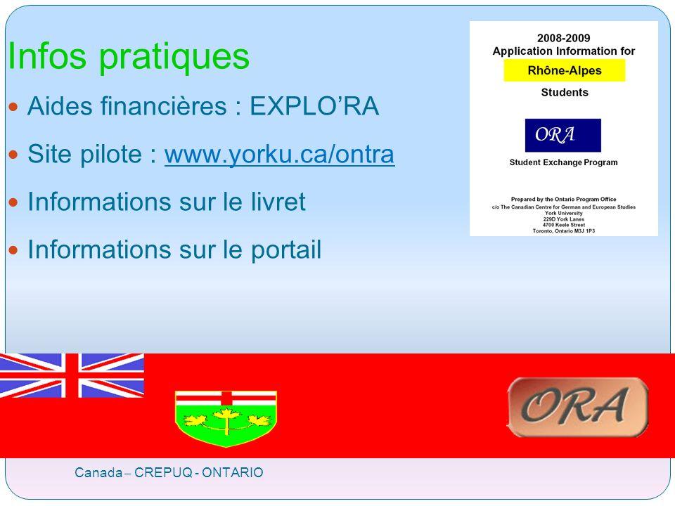 Infos pratiques Canada – CREPUQ - ONTARIO Aides financières : EXPLORA Site pilote : www.yorku.ca/ontrawww.yorku.ca/ontra Informations sur le livret Informations sur le portail