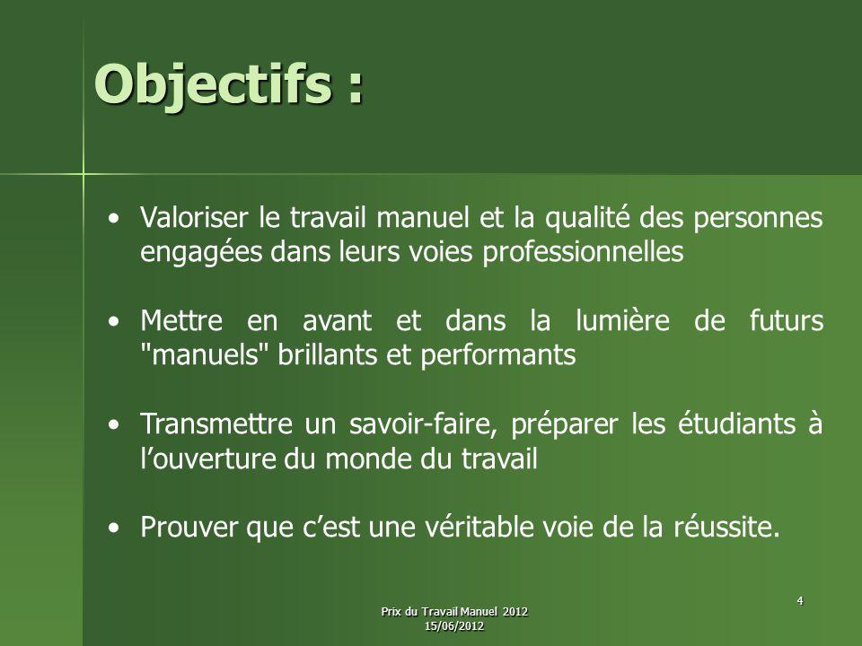 Les 2èmes Prix ex-æquo Dotation : 15 Prix du Travail Manuel 2012 15/06/2012