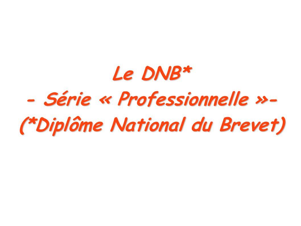 Le DNB* - Série « Professionnelle »- (*Diplôme National du Brevet)