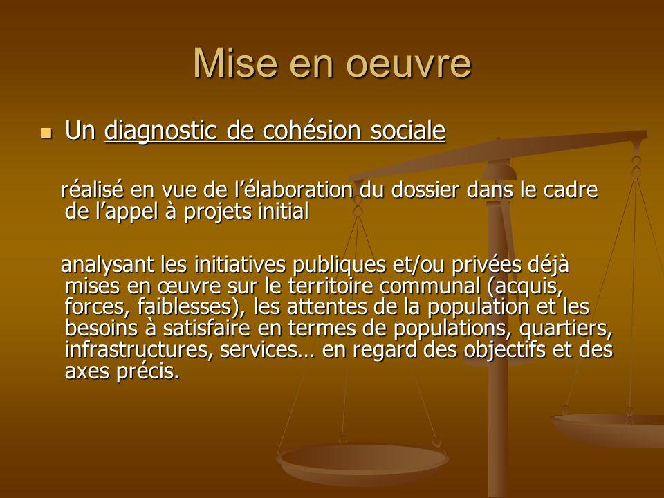 Mise en oeuvre Un diagnostic de cohésion sociale Un diagnostic de cohésion sociale réalisé en vue de lélaboration du dossier dans le cadre de lappel à