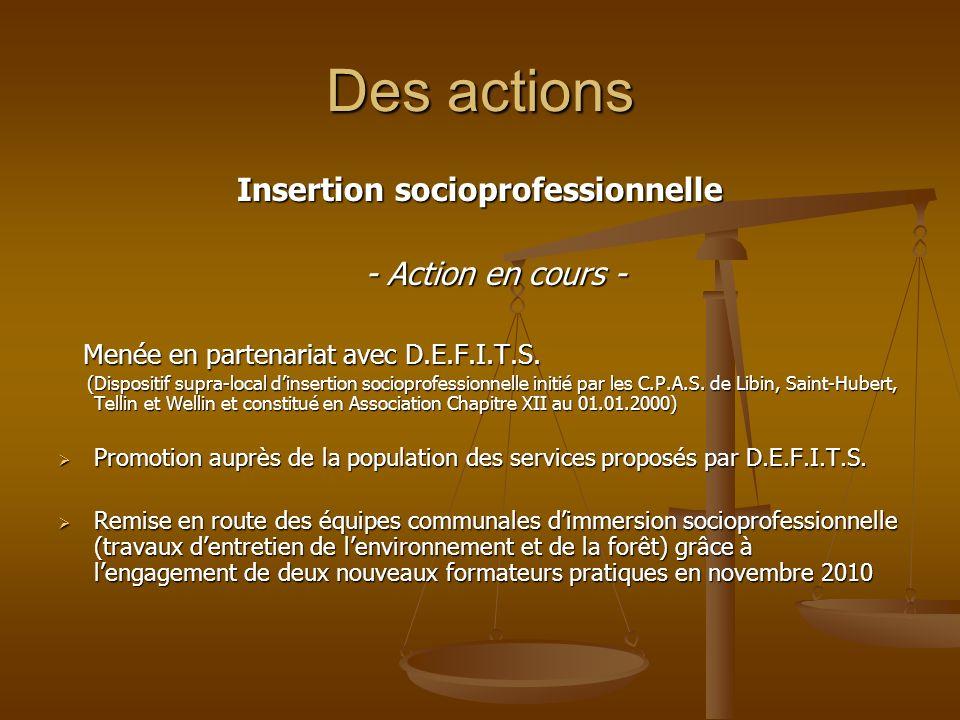 Des actions Insertion socioprofessionnelle - Action en cours - - Action en cours - Menée en partenariat avec D.E.F.I.T.S. Menée en partenariat avec D.