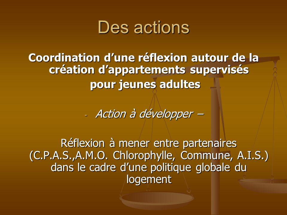 Des actions Soutien à la création dune maison communautaire pour personnes adultes déficientes - Action en voie de réalisation – Projet de lasbl ANDAGE quil incombe de soutenir - Action « dérivée » - (Re)considérer la place de la personne handicapée dans la vie quotidienne de la communauté locale