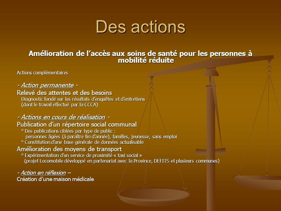 Des actions Amélioration de laccès aux soins de santé pour les personnes à mobilité réduite Actions complémentaires - Action permanente - Relevé des a