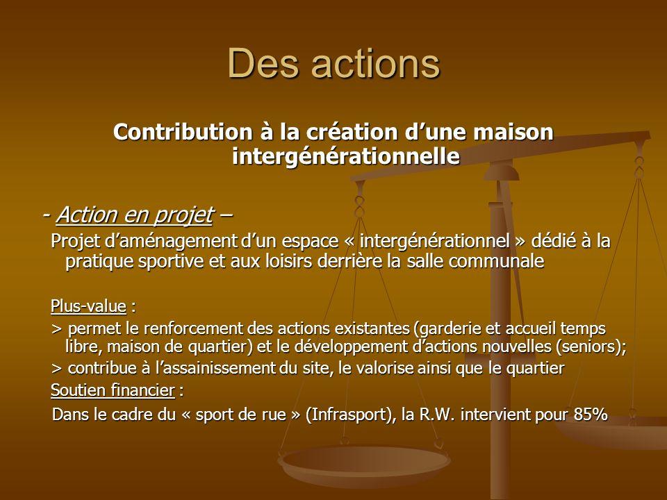 Des actions Contribution à la création dune maison intergénérationnelle - Action en projet – Projet daménagement dun espace « intergénérationnel » déd
