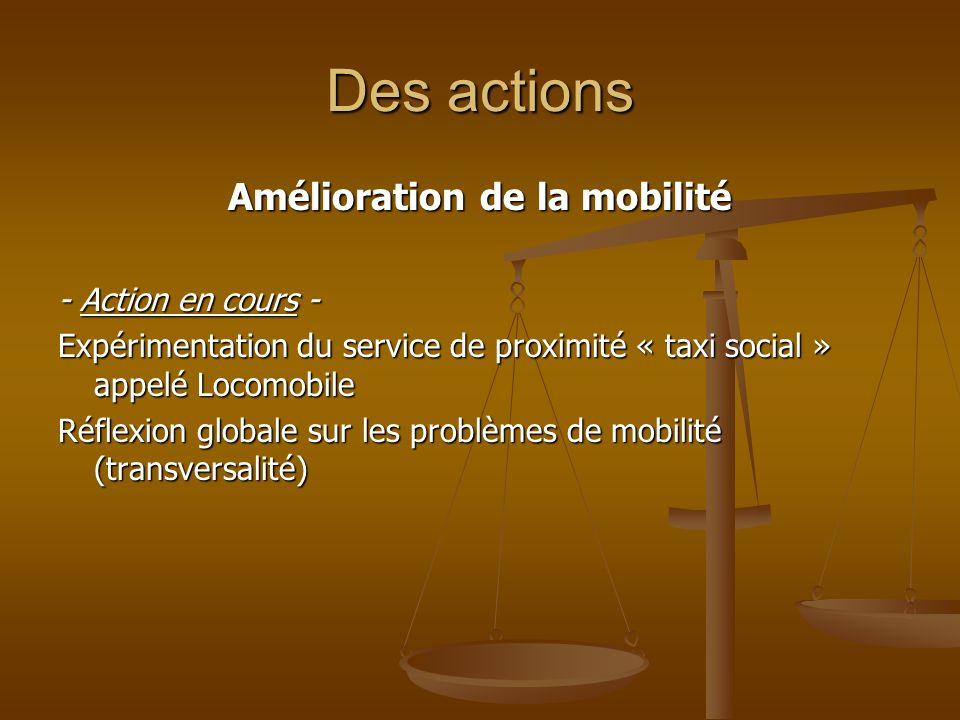 Des actions Amélioration de la mobilité - Action en cours - Expérimentation du service de proximité « taxi social » appelé Locomobile Réflexion global