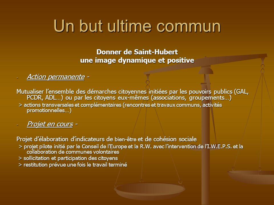 Un but ultime commun Donner de Saint-Hubert une image dynamique et positive - Action permanente - Mutualiser lensemble des démarches citoyennes initié