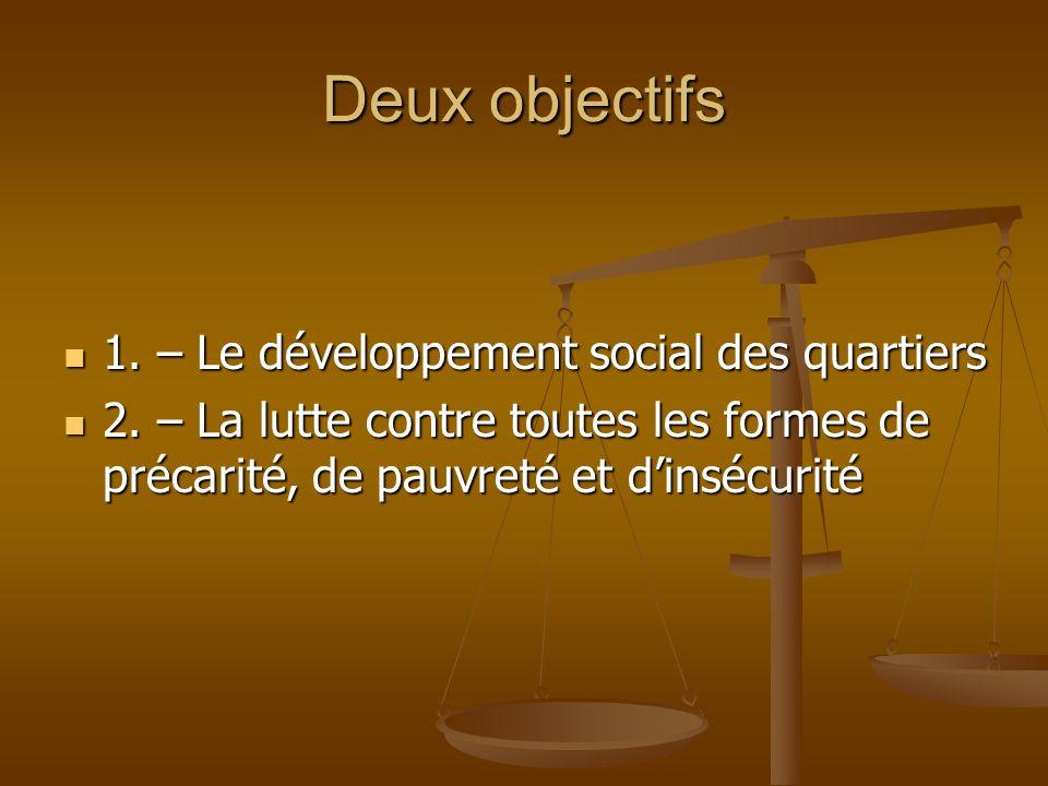 Deux objectifs 1. – Le développement social des quartiers 1. – Le développement social des quartiers 2. – La lutte contre toutes les formes de précari