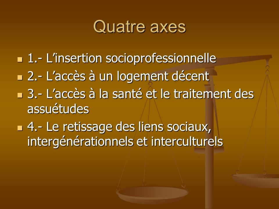 Quatre axes 1.- Linsertion socioprofessionnelle 1.- Linsertion socioprofessionnelle 2.- Laccès à un logement décent 2.- Laccès à un logement décent 3.