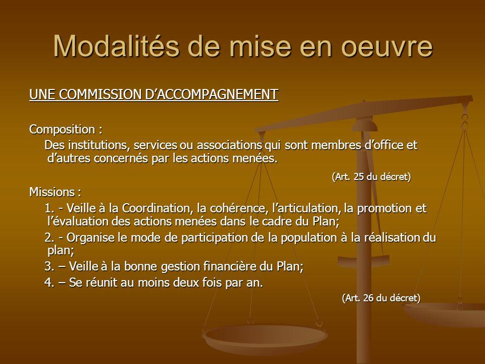 Modalités de mise en oeuvre UNE COMMISSION DACCOMPAGNEMENT Composition : Des institutions, services ou associations qui sont membres doffice et dautre