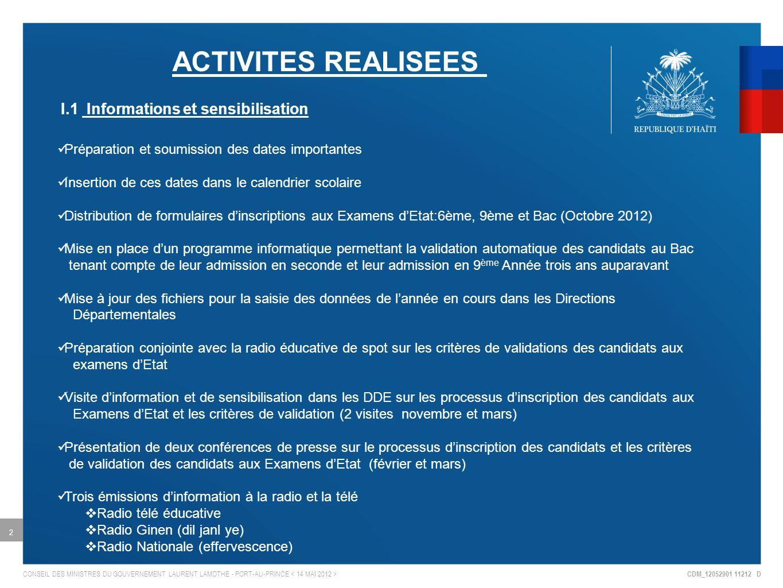 CDM_12052901 11212 D CONSEIL DES MINISTRES DU GOUVERNEMENT LAURENT LAMOTHE - PORT-AU-PRINCE 2 ACTIVITES REALISEES I.1 Informations et sensibilisation