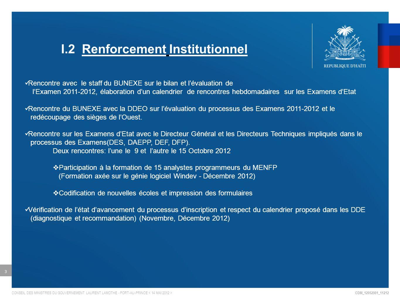CDM_12052901_11212 CONSEIL DES MINISTRES DU GOUVERNEMENT LAURENT LAMOTHE - PORT-AU-PRINCE 4 Visite hebdomadaire dans lOuest et rencontre avec les agents (Directeurs, Assistants Directeurs, Coordonateurs et Inspecteurs de zone) (diagnostique et recommandation) Réception de fichiers de décision de Seconde et impression des doublons à acheminer dans les DDE pour fin de traitement.