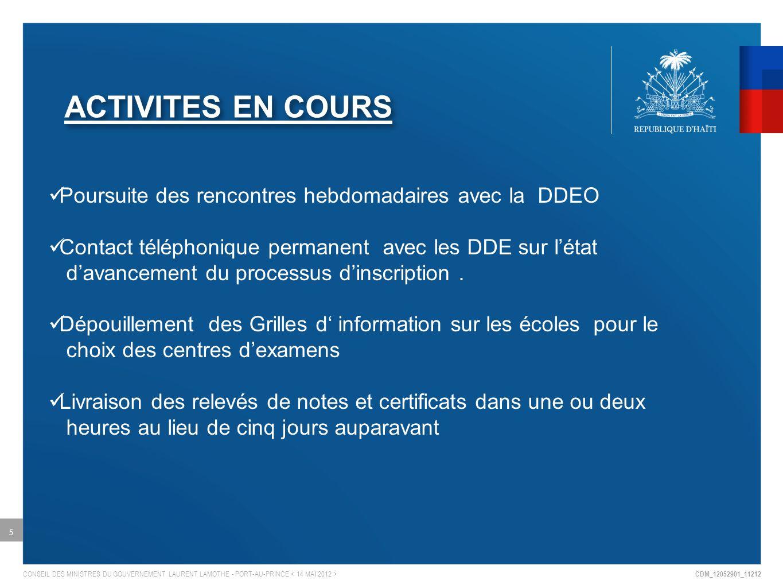 CDM_12052901_11212 CONSEIL DES MINISTRES DU GOUVERNEMENT LAURENT LAMOTHE - PORT-AU-PRINCE ACTIVITES EN COURS 5 Poursuite des rencontres hebdomadaires