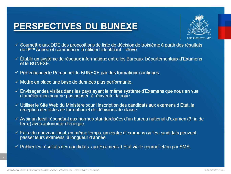 CDM_12052901_11212 CONSEIL DES MINISTRES DU GOUVERNEMENT LAURENT LAMOTHE - PORT-AU-PRINCE PERSPECTIVES DU BUNEXE Soumettre aux DDE des propositions de