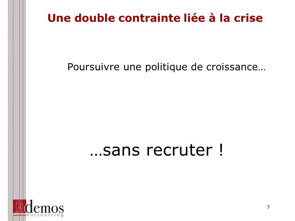3 Une double contrainte liée à la crise Poursuivre une politique de croissance… …sans recruter !