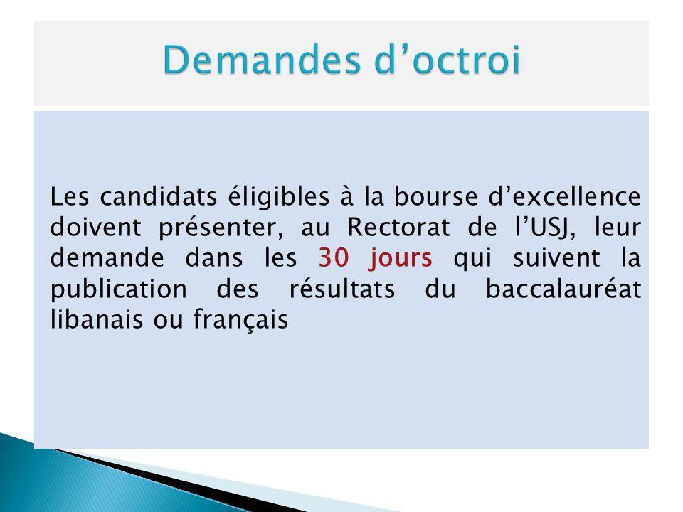 Les candidats éligibles à la bourse dexcellence doivent présenter, au Rectorat de lUSJ, leur demande dans les 30 jours qui suivent la publication des résultats du baccalauréat libanais ou français