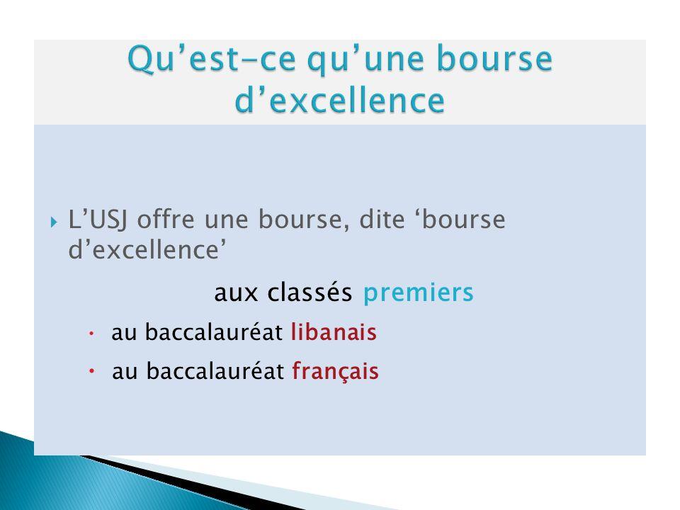 LUSJ offre une bourse, dite bourse dexcellence aux classés premiers au baccalauréat libanais au baccalauréat français