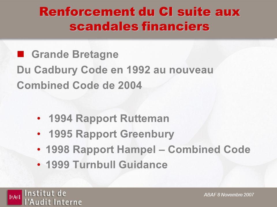 Renforcement du CI suite aux scandales financiers Grande Bretagne Du Cadbury Code en 1992 au nouveau Combined Code de 2004 1994 Rapport Rutteman 1995