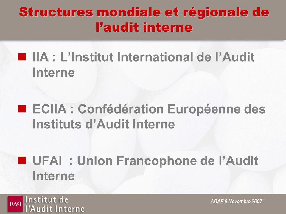 ABAF 8 Novembre 2007 Structures mondiale et régionale de laudit interne IIA : LInstitut International de lAudit Interne ECIIA : Confédération Européenne des Instituts dAudit Interne UFAI : Union Francophone de lAudit Interne