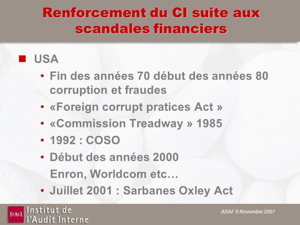 ABAF 8 Novembre 2007 Renforcement du CI suite aux scandales financiers USA Fin des années 70 début des années 80 corruption et fraudes «Foreign corrup