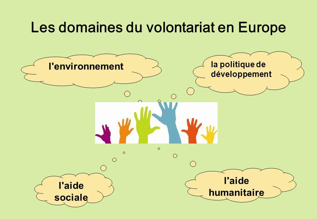 Les domaines du volontariat en Europe l'aide sociale l'aide humanitaire l'environnement la politique de développement
