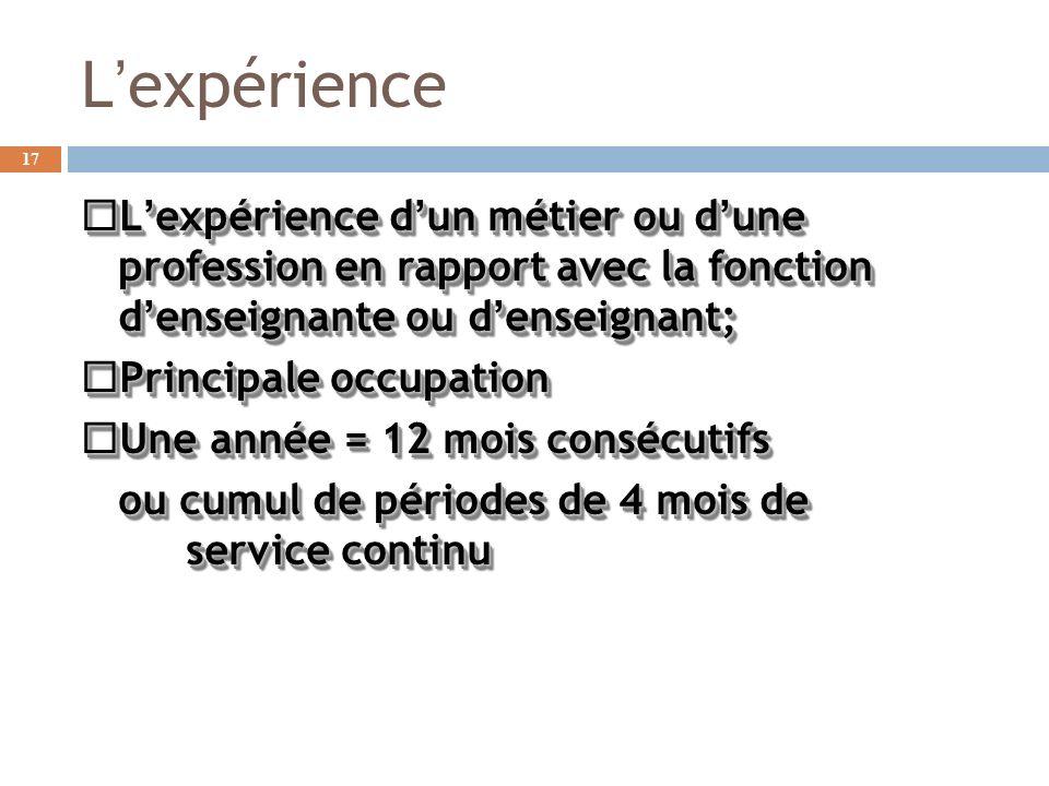 Lexpérience Lexpérience dun métier ou dune profession en rapport avec la fonction denseignante ou denseignant; Lexpérience dun métier ou dune professi