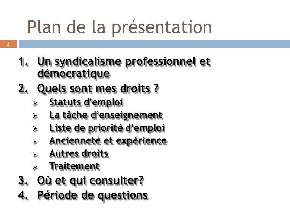 Plan de la présentation 1.Un syndicalisme professionnel et démocratique 2.Quels sont mes droits ? Statuts demploi Statuts demploi La tâche denseigneme