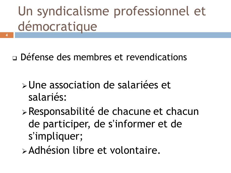 Un syndicalisme professionnel et démocratique Défense des membres et revendications Une association de salariées et salariés: Responsabilité de chacune et chacun de participer, de sinformer et de simpliquer; Adhésion libre et volontaire.