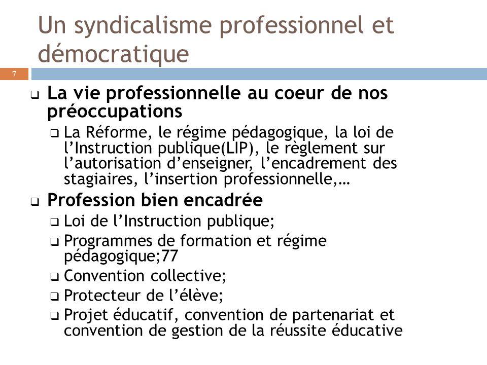 Un syndicalisme professionnel et démocratique La vie professionnelle au coeur de nos préoccupations La Réforme, le régime pédagogique, la loi de lInst