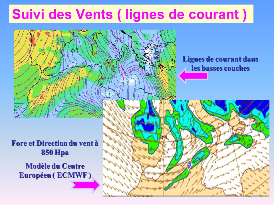 Suivi des Vents ( lignes de courant ) Fore et Direction du vent à 850 Hpa Modèle du Centre Européen ( ECMWF ) Lignes de courant dans les basses couche