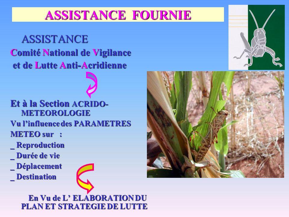 ASSISTANCE FOURNIE ASSISTANCE ASSISTANCE Comité National de Vigilance et de Lutte Anti-Acridienne et de Lutte Anti-Acridienne Et à la Section ACRIDO-