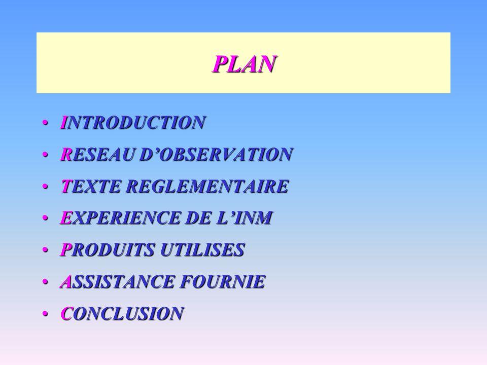 PLAN INTRODUCTIONINTRODUCTION RESEAU DOBSERVATIONRESEAU DOBSERVATION TEXTE REGLEMENTAIRETEXTE REGLEMENTAIRE EXPERIENCE DE LINMEXPERIENCE DE LINM PRODU