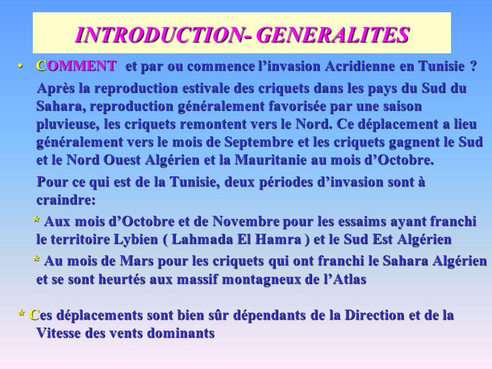 INTRODUCTION- GENERALITES COMMENT et par ou commence linvasion Acridienne en Tunisie ?COMMENT et par ou commence linvasion Acridienne en Tunisie ? Apr